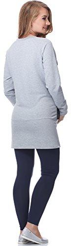 Be Mammy Damen Umstands Tunika mit Stillfunktion BE20-146 Melange/Navy