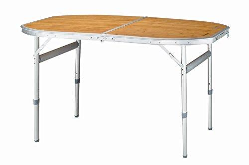 King Camp mesa plegable Bambú camping mesa plegable mesa mesa de jardín muebles Soporta hasta 80kg de camping para picnic camping Hinterhof Party, 120× 80× 46/68cm