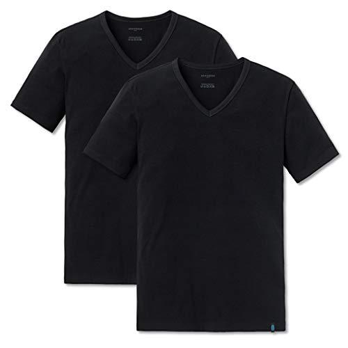 Schiesser 95/5 T-Shirt Kurzarm V-Ausschnitt (6 (L), 2 X Schwarz (000)) -