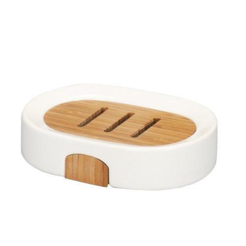 Zeller Seifenschale, Keramik / Bamboo