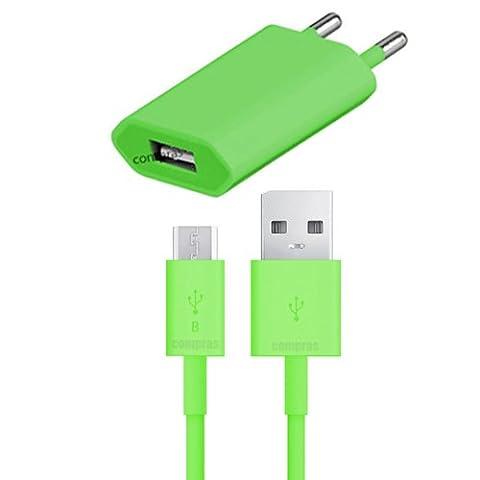 Original q1 2in1 Set Grün USB Ladegerät Datenkabel Ladekabel Netzteil Samsung Galaxy S4 Mini GT-i9195 / S7 / S7 edge / S6 / S6 edge / S6 edge Plus / S3 / S3 Neo / S5 / S5 mini / S4 / S3 Mini / G530H / G531F / S4 mini / A3 2016 / A5 2016 / A3 2015 / A5 2015 Original q1