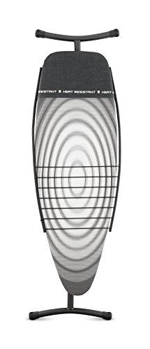 Brabantia 100482 - Mesa de planchar, 135 x 45 cm, sin soporte, funda protectora con zona resistente al calor, bandeja para ropa, diseño Titan Oval, estructura gris oscuro