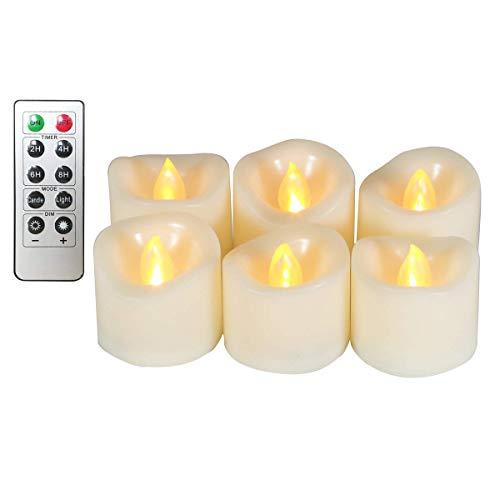 Erosway Teelichter LED realistisch Flackernde Flammenlose LED Kerzen mit Fernbedienung, 2/4/6/8 Timer, 300 Stunden Nonstop Leuchten geliefert 6 Stück/Paket