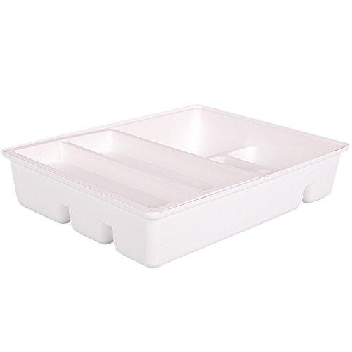 Creation Core Küche Schublade Organizer mit Double Layer Tablett für Unterschrank Kunststoff Besteck Besteck Gadgets Tablett weiß (Handwerk Schubladen Weiß)
