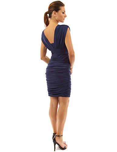 PattyBoutik Grecian Damen ärmelloses gepolstertes Cocktail-Kleid mit V- Ausschnitt am Rücken Dunkelblau ...