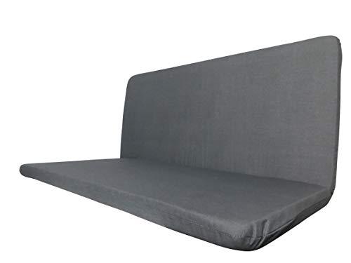 Doppler 2 teilige Luxus 2-Sitzer Bankauflage 940C, ca. 92 x 44 x 4 cm, Uni anthrazit, 501516940C