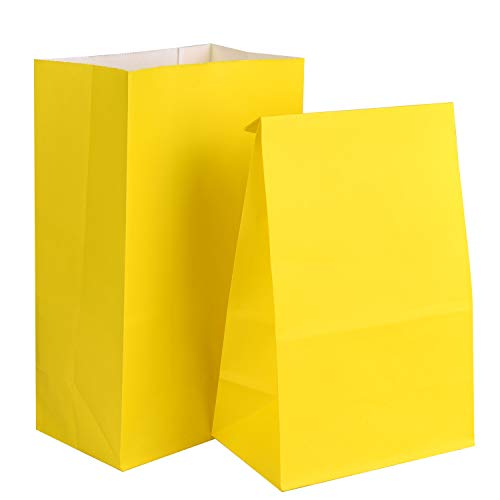 TUPARKA 16 Stücke Party Papiertüten Candy Bags Einkaufstüten Kraftpapiertüten Papier Party Taschen für Kinder Party Supplies (Gelb) (Party Supplies Gelbe)