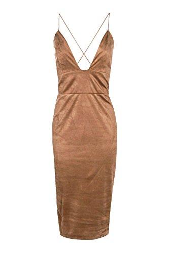 Kamel- Damen Rina Riemchen Suedette Midi figurbetontes Kleid Kamel