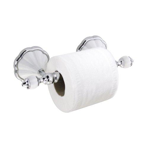 modona Toilettenpapier-Halter mit Edelstahl-Roller - weiß Porzellan & Chrom poliert - Flora Serie - 5 Jahr Vorteil - Chrom Toilettenpapier Halter