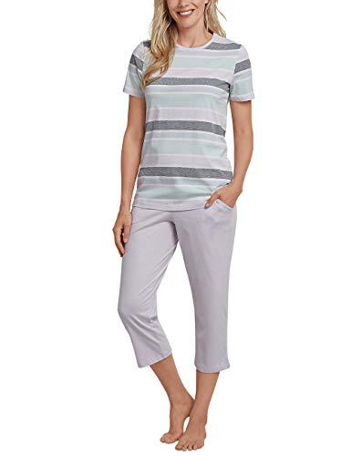 Schiesser Damen Anzug 3/4, 1/2 Arm Zweiteiliger Schlafanzug, Blau (Lavendel 809), 40 (Herstellergröße: 040) -