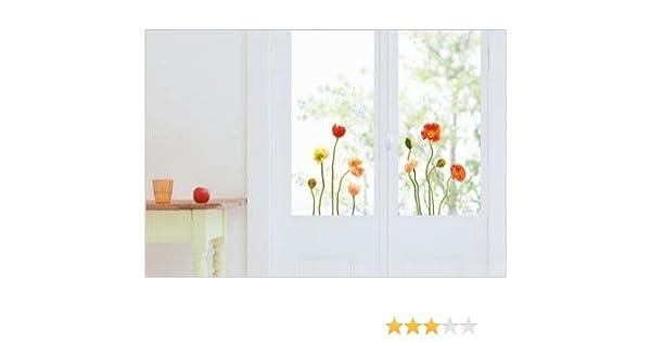 Senza Colla Motivo: Papaveri visibili sui 2 Lati vetri e specchi NI Adesivi elettrostatici per finestre