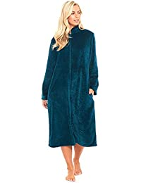 Slumber Hut® Ladies Fleece Dressing Gown Full Zipped Long Length -  Housecoat Unique Colours - e0cade19a