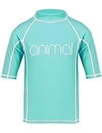 Animal 2018 Junior Girls Molli Short Sleeve Rash Vest Peppermint Blue CL8SN815
