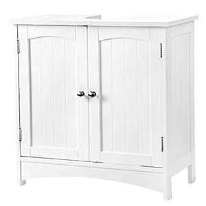 VASAGLE Waschbeckenunterschrank Unterschrank Badezimmerschrank 2 Türen mit Verstellbarer Einlegeboden Holz, Weiß, 60 x 60 x 30 cm (B x H x T) BBC01WT