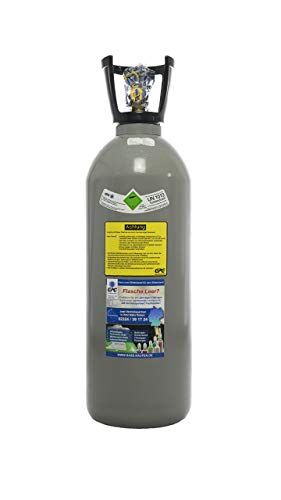 10kg Kohlensäure Flasche / CO2 Flasche / Gasflasche (Eigentumsflasche) gefüllt mit Kohlensäure(CO2) / Lebensmittelqualität nach E290 / kurze Bauform / NEUE Eigentumsflasche direkt vom Abfüller / 10 Jahre TÜV ab Herstelldatum / made in EU