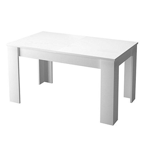 Table de salle à manger extensible finition blanc laquée Lino