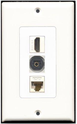 RiteAV-1Port HDMI und 1Port Toslink und 1Port CAT6Ethernet weiß Deko Wand Teller -
