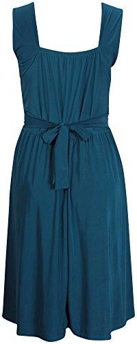 Vestito da donna senza maniche, elasticizzato, con fasce incrociate e con fibbia, cintura posteriore, taglie abbondanti Teal