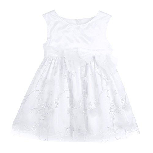 Tiaobug Babykleid festlich Mädchen Taufkleid Baby Prinzessin Kleider Taufe Hochzeit Kleinkind Kleidung 3-24 Monate Weiß 86 (Tüll, Satin, Kleid Taufe)