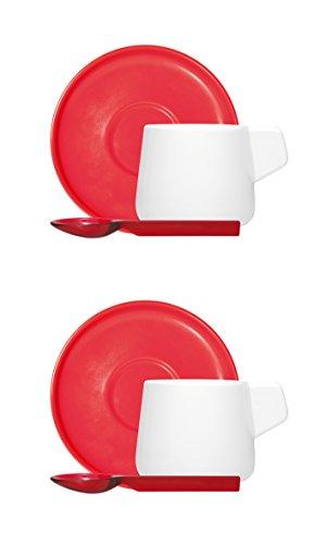 Vice Versa 46203 Lot de 2 tasses à café avec cuillère, Porcelaine, Rouge, 2 unités