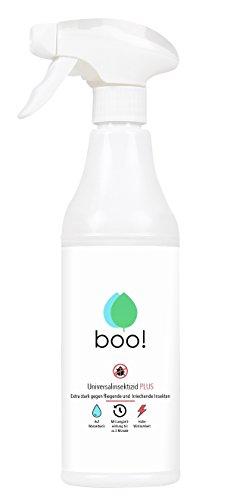 boo! Plus - Extra Starkes Insektenspray   Insektenschutz ALS Spray Gegen Mücken, Milben, Bettwanzen Etc   Insektizid auf Wasserbasis   Langzeitwirkung von bis zu 3 Monaten   500 ml