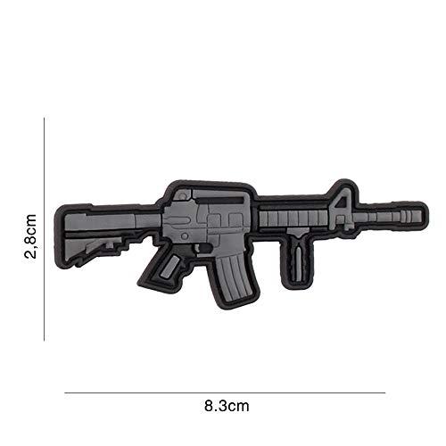 Tactical Attack Gewehr AR15 M4 M16 Softair Sniper PVC Patch Logo Klett inkl gegenseite zum aufnähen Paintball Airsoft Abzeichen Fun Outdoor Freizeit