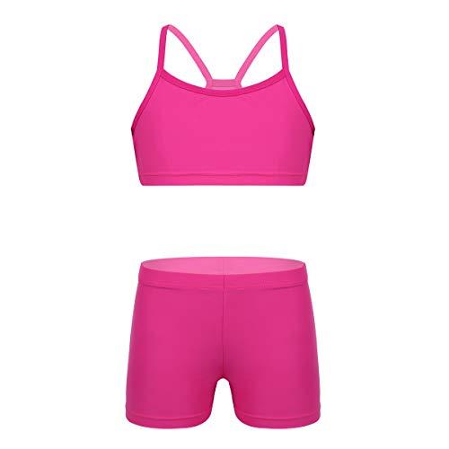 FEESHOW Mädchen Sportlich Badeanzug Tankini Top Bustier mit kurz Hose für Sport Training Fitness Schwimmen Gr.104-152 Rose 128-140/8-10 Jahre -