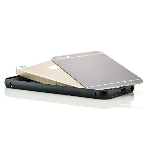 Saxonia iPhone SE 5 5S Coque aluminium Métal Housse Bumper rigide Case | Housse Etui Protection Verre Acrylique Verso Noir Noir