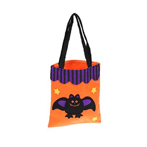 HEALIFTY Kürbis Süßigkeiten Tasche wiederverwendbare Einkaufstüten gedruckt Süßigkeiten Handtaschen für Halloween persönliche Party (Orange Bat)