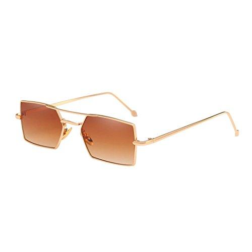 Sunday Retro Gafas de Sol Cuadradas de las Sombras de Ojos del Marco Metálico Vidrios UV Integrados Hombres y Mujeres (C)
