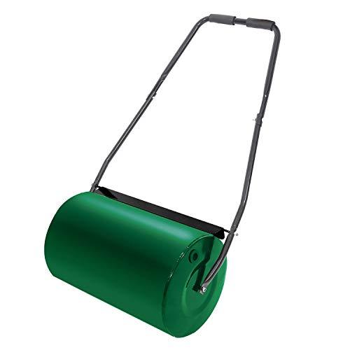 HENGMEI Rasenwalze befüllbar Handwalze Gartenwalze Grün 57cm-Metall Handwalze Rasenroller gartenfräse rasenlüfter-32 cm Durchmesser, 46 l Füllvolumen (Grün)