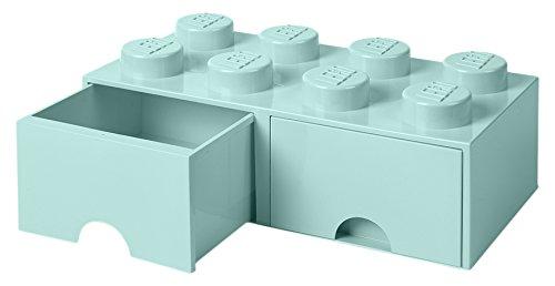 LEGO 4006 Brick 8 Knöpfe, 2 Schubladen, stapelbar Aufbewahrungsbox, 9,4 l, Aqua (Mint grün), Plastik, Legion Light Blue, 50 x 25 x 18 cm -