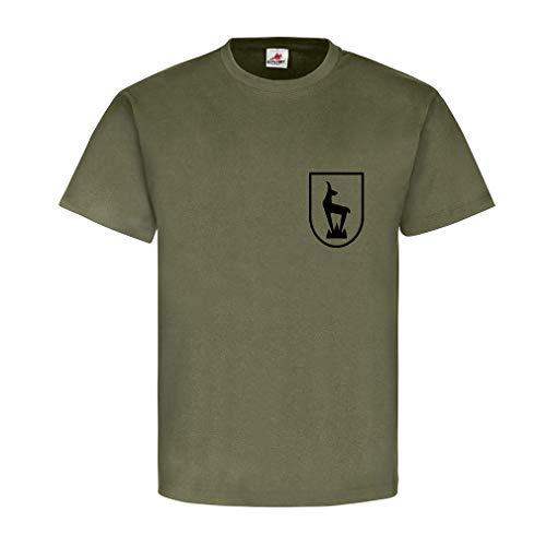 Horrido de Gams Gebirgsjäger Steinbock Edelweiß Wappen Abzeichen T Shirt #15288, Farbe:Oliv, Größe:Herren L