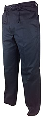 Mens Full Elastic Waist Rugby Trousers Size 30 - 50 Very Comfortable Fit with Draw String Cord Casual Golf Trouser Black Olive Navy Beige Grey Olive