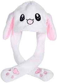 Dressfan Women Girls Funny Plush Rabbit Ear Hat Toy Birthday Gift Plush Hat Funny Toys-Pressing The Bunny Cap Will Make The