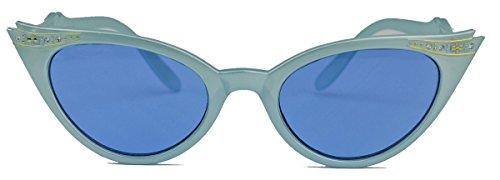 50er Jahre Damen Sonnenbrille Cat Eye Rockabilly Strass Modell Glitzersteine KK VR (Candy Blau/Blau)