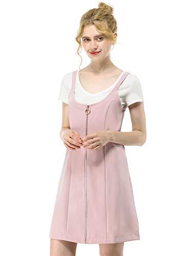 Allegra K Damen U Neck Reißverschluss Träger Minikleid Kleid Rosa XS (EU 34) (U-boot-ausschnitt K Allegra)