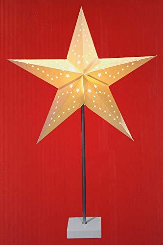 Kamaca LED Dekoration aus Papier und massivem Metall (Fuss und Stange) ca. 60 cm mit Kabel und EIN- und Ausschalter Schmuckstück in Winter Weihnachten (Stern 60 cm mit Kabel)