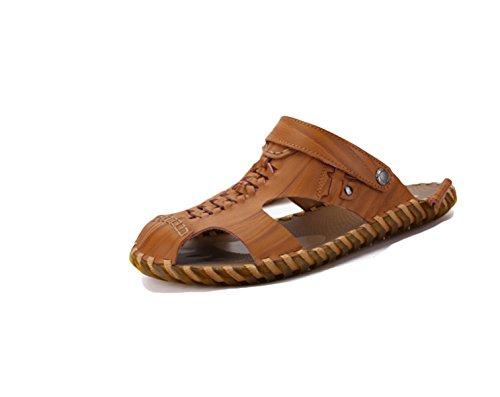 LXXAMens Estate Spiaggia Maschio Slipper Peso Leggero Di Cuoio Reali Sandali Di Sport Due Usi Brown