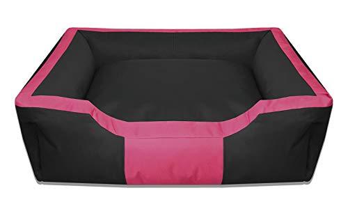 BedDog Hundebett BRUNO/großes Hundekörbchen aus Cordura/waschbares Hundebett vier-eckig mit Rand/Hundesofa für drinnen und draußen/XL/PINK-ROSE/schwarz-pink