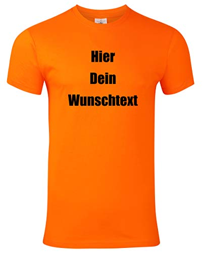 Herren T-Shirt Bedrucken mit dem Amazon Tshirt Designer. T-Shirt selber gestalten. T-Shirt Druck. T-Shirt mit Wunschtext. T Shirts sind Ökotex-100 Zertifiziert. - Orange XL