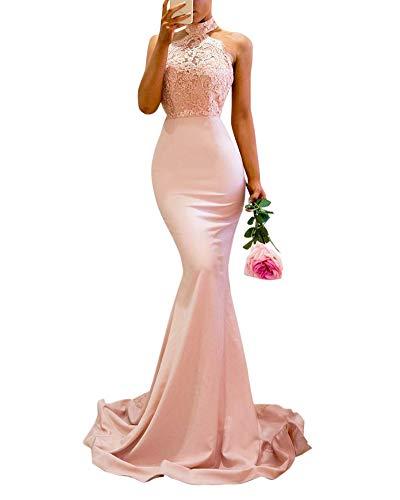 DianShaoA Damen Abendkleider Lang Partykleider Off Shoulder Etuikleid Maxikleider Elegant Cocktailkleid Hoch Geschlitzt Fishtail Meerjungfrau Kleid Pink M