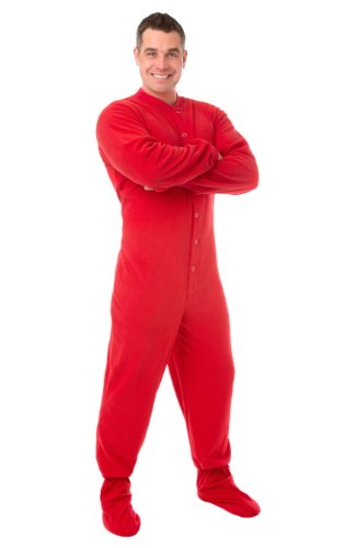 Big Feet PJs Rosso micro-polar Fleece adulti Footed pigiama (201)