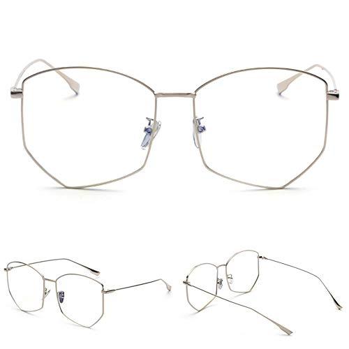 ZHANGNING0329 SonnenbrillenÜbergroße Brille Rahmen Weibliche Modelle Metall Polygon Männer Optische Gläser Computer Schutzbrille Hellblau Sperre, A
