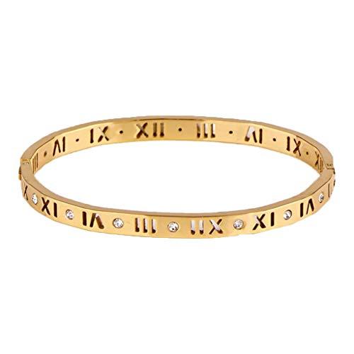 shanghaisty Women's 18K White Rose Gold Bracelet, Filled with Roman Numerals Crystal Bracelet