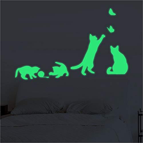 ufkleber Leuchtende Form Spielerische Katze Nette Wandaufkleber Leuchtstoffaufkleber Hauptdekoration 18 * 30Cm ()