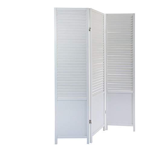 Homestyle4u 892, Paravent Raumteiler 3 teilig, Holz Lamellen, weiß