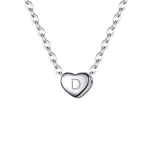 Clearine Damen Choker Halskette 925 Sterling Silber mit Buchstabe A-Z kleine Initial Herz Anhänger Kette Halsband Buchstabe D Klar Silber-Ton