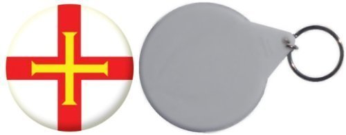 Miroir insigne de bouton Angleterre Guernsey drapeau - 58mm