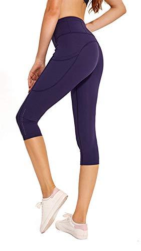 Ecupper Damen Sport Capri Leggings 3/4 High Waist mit Taschen Yogahose Jogginghose Midnight Blue DE42 -